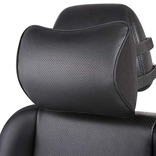 koyoso Auto Kissen, Nackenstütze Nackenkissen für Autositz Kopfstütze Gemacht mit Memory Schaum und Leder (Schwarz, 1 PC)