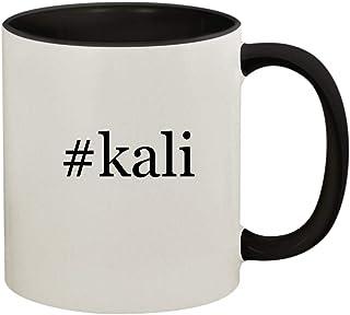 #kali - 11oz Ceramic Colored Handle and Inside Coffee Mug Cup, Black