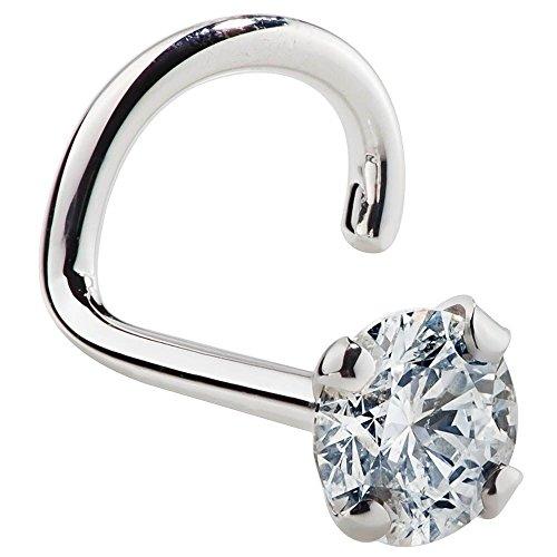 Cubic Zirconia Nose Ring Twist - 14K Nickel-Free White Gold Nose Screw - 1.5mm, 2mm, 3mm Stud 18 Gauge (3mm)