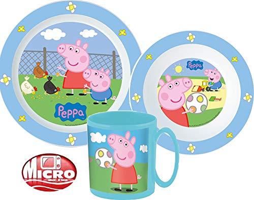Peppa Pig Wutz Kinder-Geschirr Set mit Teller, Müslischale und Trinkbecher