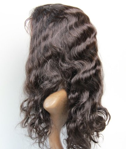 """Full Lace Wigs 20"""" malaysian Hair 100% Remy Human Hair Wig Body Wave #1B"""