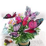10 Stück Gartendeko Schmetterlinge mit Metallaufkleber, Garten Schmetterlinge für Pflanzen Blumen Ornamente,Vase-Lila/Rosa Schmetterlinge