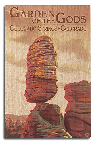 Lantern Press Colorado Springs, Colorado - Garden of The Gods, Balanced Rock (10x15 Wood Wall Sign, Wall Decor Ready to Hang)