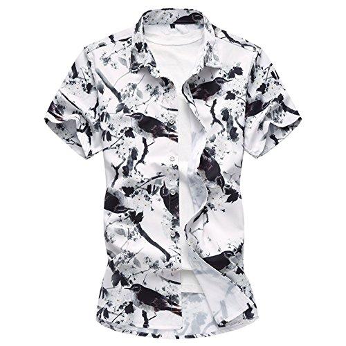 Men's Hawaiian Shirt Flower 3D Printing Casual Button Down Short Sleeve Shirt Floral Coffee