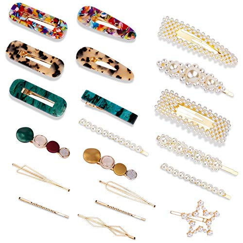 20PCS Hair Clips,YOUYOUTE Sweet Artificial Large Pearls Hair Clips Fashion Korean Style Acrylic Resin Hair Barrettes Hairpins,Hair Accessories gift for Women Girls Headwear