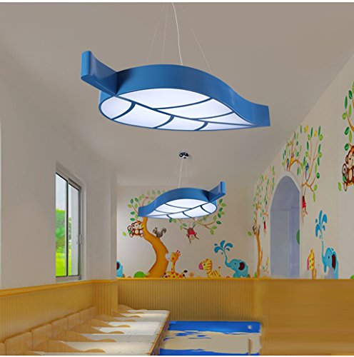 Lily's-uk Love Personnalité Feuilles Kids Room Plafonnier Simple Mode Led Chambre Lumière Creative Cartoon Kindergarten Amusement Park Lights - Bleu