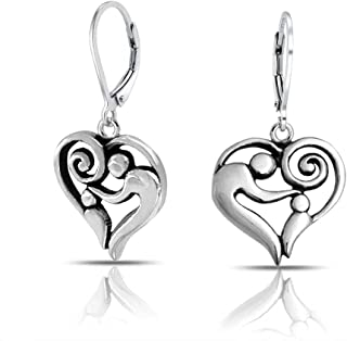 Heart Shaped Mother Loving Shaped Leverback Dangle Earrings For Women For New Mother Oxidized 925 Sterling Silver