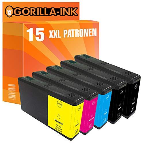 Gorilla-Ink 15 Cartucce d'inchiostro XXL compatibile con Epson T7901 T7902 T7903 T7904 79XL 79 XL | Per WorkForce Pro WF-5110 WF-5190 DW WF-5620 WF-5690 DWF WF-5110DW WF-5190DW WF-5620DWF WF-5690DWF