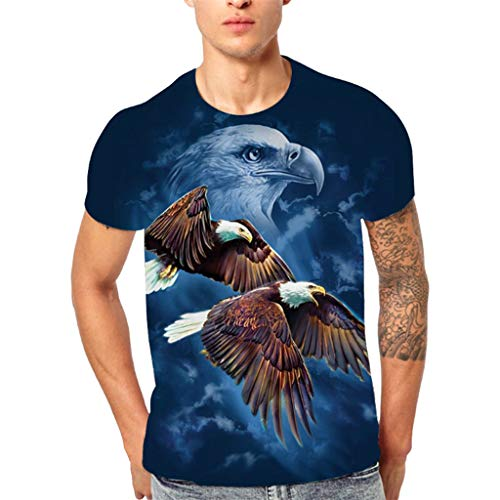 Battnot Herren T Shirt Blau Fliegender Adler Drucken Tops Männer Modern Cooles Casual Printed Kurzarm Große Größen 3XL Oversize Slim Fit Rundhals Basic Sport T-Shirt Bluse