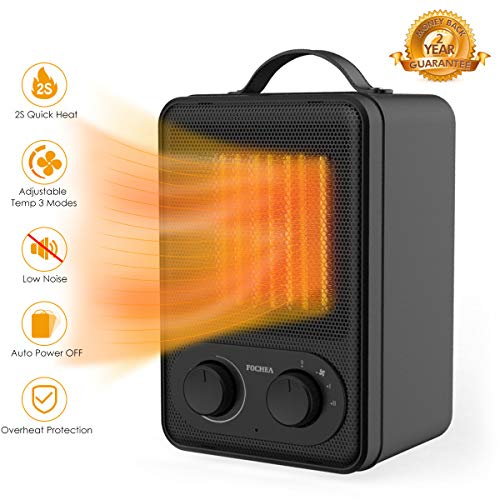 FOCHEA 950W/1500W Ceramic Space Heater with Adjustable Thermostat, Personal Portable Indoor Heater Fan with Overheat and Tip-Over Protection & Carry Handle, Quiet, Perfect for Home & Office Ceramic Heater Space