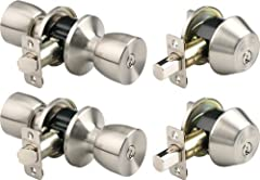 "Keyed alike entry door knob and single cylinder deadbolt (2 each) Meets ANSI Grade 3 standards for pick, drill and bump resistance 1 inch deadbolt and steel anti-saw pin 4-way adjustable latch that fits any 2-3/8"" or 2-3/4"" backset Easy to install an..."