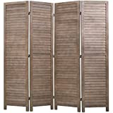 4 Panel Wood Room Divider 5.75 Ft Tall Privacy Wall Divider 68.9' x 15.75' Each Panel Folding Wood Screen for Home Office Bedroom Restaurant (Brown)