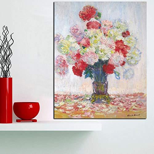 Lcgbw kunstdruk, abstract, rode bloemen, in vaas, olieverfschilderij, op canvas, moderne kunst, wand, foto, decoratie 50x100cm Toile + Cadre