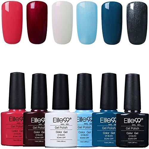 Elite99 Esmaltes Semipermanentes de Uñas en Gel UV LED, 6pcs Kit de Esmaltes de Uñas en Gel Soak Off 005