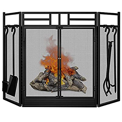 Amagabeli Fireplace Screen with Doors Large Flat Guard Fire Screens with Tools Outdoor Metal Decorative Mesh Solid Wrought Iron Fire Place Panels Wood Burning Stove Accessories Black from AMAGABELI GARDEN & HOME