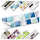 Wandora 1 Set Fliesenaufkleber 25,3 x 3,7 cm blau türkis Silber Design 2 I 3D Mosaik Fliesenfolie Küche Bad Aufkleber W1536