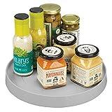 mDesign Especiero Giratorio para Cocina – Elegante Estante para Especias, condimentos, Ingredientes de Hornear o conservas – Bandeja giratoria Redonda para aparador o armarios de Cocina – Gris