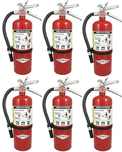 Amerex B402, 5lb ABC Dry Chemical Class A B C Fire Extinguisher, with Wall Bracket, 6 Pack