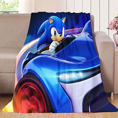 Nuomanan Sonic The Hedgehog, Sonic Racing Baby coperta 100 x 125 cm in flanella super morbida e calda coperta per la casa