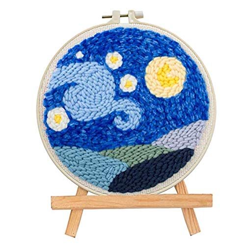 Punch Needle Starter Kits Punch Needle Tool DIY Rug Punch Beginners Kit with an Adjustable Punch Needle Embroidery Frame 7.8x7.8 Inch (Starry Sky)