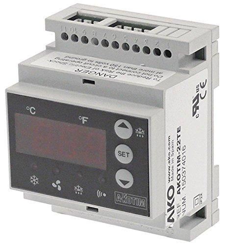 AKO AKOTIM-22TE - Regulador electrónico (230 V CA, para NTC -50 hasta +99 °C, pantalla 31º, 2 dígitos, fijación carril DIN, dimensiones de montaje 90 x 70 x 58 mm)