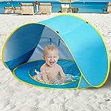 Bakaji Tenda Gioco Bambini da Spiaggia con Tettuccio Parasole Mini Piscina a Scomparsa Rete di Areazione Sistema Pieghevole Pop Up Portatile Fissaggio a Picchetti Custodia Dimensione 120x80x70 cm