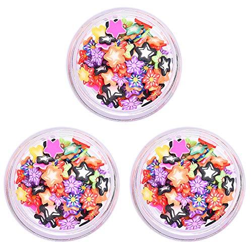 litulituhallo 3 cajas de arcilla de frutas rebanadas de frutas, rebanadas de arcilla de cinco estrellas uñas de cerámica suave, piezas de cerámica