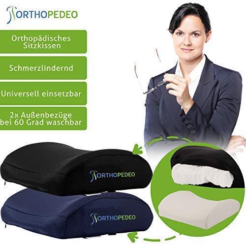ORTHOPEDEO Ausverkauf Rückenkissen mit 2 Bezügen und Handytasche - Verstellbarer Gürtel - Rückenstütze - Ergonomisch- Lordosenstütze - Bürostuhl - Orthopädisch