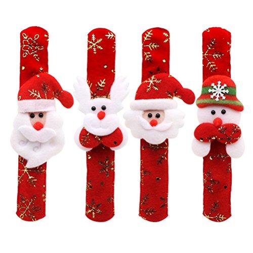 YeahiBaby Babbo Natale Pupazzo di Neve Alce Slap Braccialetto Fiocco di Neve Oro stampaggio Wristband per Bambini Ragazzi Ragazze Adulti Festa di Natale favori (Stile Casuale)