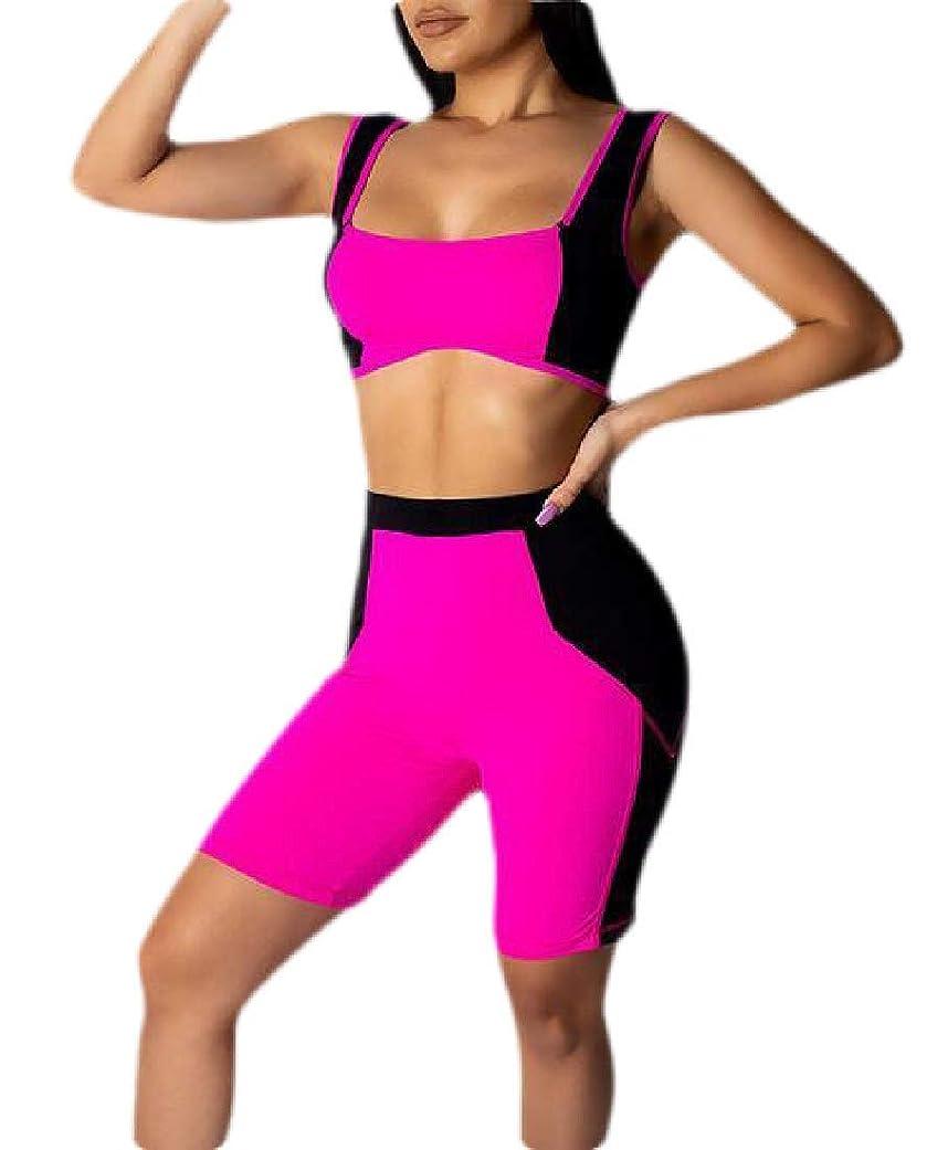 スロベニア人事激しいWomens Sexy Color Block Sleeveless Crop Top & Shorts Set 2 Piece Outfit