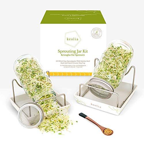 Keolia Germoir pour Graines à Germer - Germoir en Verre avec 2 Verre à Germer de 750ML pour Graines a Germer Bio, Germoir a Graines en Verre avec Coupelle de Germination Germinateur Broccoli Sprouts