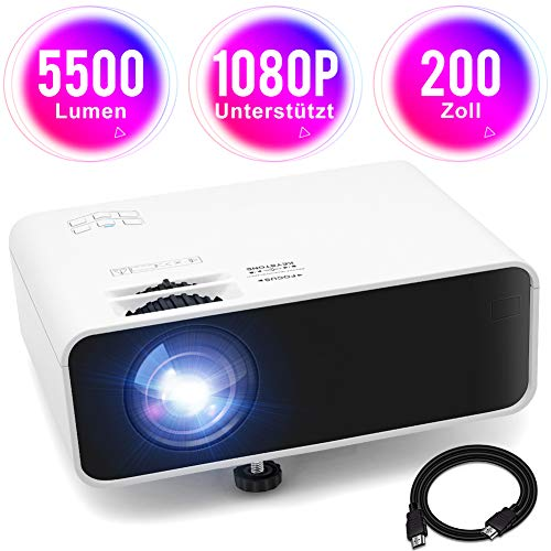 "Mini Beamer Full HD 1080P Unterstützt Video Projektor Heimkino Beamer mit HiFi Stereo 5500 Lumen 200\"" Display 55000St. LED HDMI/AV/VGA/USB/TF/Audio Anschlüsse, kompatibel mit TV Stick Xbox DVD PC"