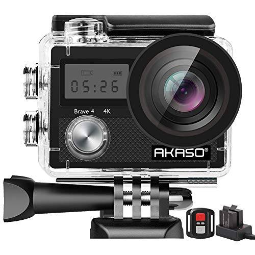 AKASO Brave 4 Action Camera, 4K HD 20MP Wifi Underwater 30m Eis Cam with Remote Control, Waterproof Case, 2 Rechargeable Batteries and Mounting Accessories Kit