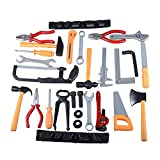 Gresdent 28 Pcs Kids Toy Tool Set Construction Party Supplies Plastic Pretend Play Accessory for Boys with Screwdrivers Pliers Axes Saws