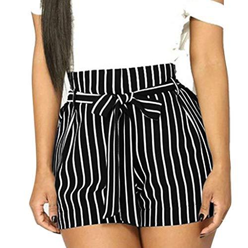 Short Femmes Taille Haute Mode Été Hot Pantalon Court Rayure Poche Pantalons de Sport Yoga Bermudas avec Ceinture Fluide Casual Ample Chic Grande Taille S-3XL Sunenjoy (3XL, Noir)