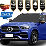 Car Windshield Snow Cover with Mirror Snow Covers, 4 Layers Material Protection Large Size 86'x 50' Hooks Design No Scratch Paint- All Season Protection Fits for Most Vehicles
