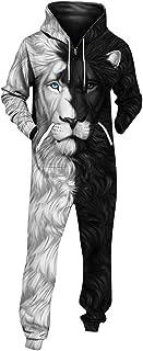 FRAUIT-Herren Top FRAUIT 3D Druck Jumpsuit Damen Herren Kapuzen Overall Printed Onepiece Casual Festlich Party Kleidung Strampler Weich Nachtwäsche Fitness Bekleidung Overall Trainingsanzug