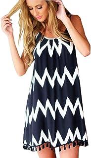 Plusnuolee Womens Tassel Sleeveless Beach Dress Beach Cover up Casual Beachwear Mini Dress