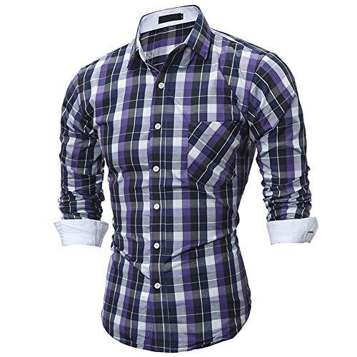HenShiXin Männer Plissee Geometric Beiläufige Neue Art Und Weise Der Männer Plaid Langarm-Shirt Slim- TOP Känguru Rüschen (Color : A, Size : XL)