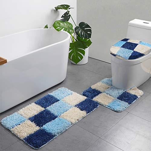 LAOSHIZI Alfombrillas de baño Suave Antideslizante Moda Enrejado Juego de alfombras de baño de 3 Piezas Azul