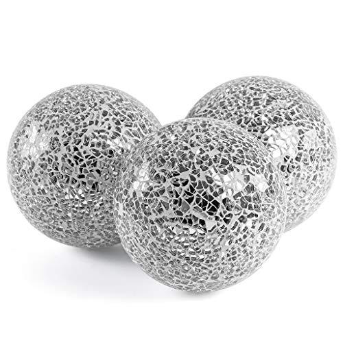 Skelang Bolas decorativas de vidrio, orbes decorativos,bolas decorativas de centro de mesa para cuencos, jarrones, decoración de mesa de comedor, 3 piezas (plateado)