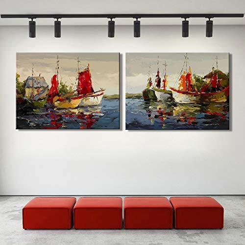 YuanMinglu Cartel Moderno e impresión de Lienzo de Arte Abstracto Marino Marino Barco decoración de Sala de Estar Pintura decoración del hogar Pintura sin Marco 60x80 cm