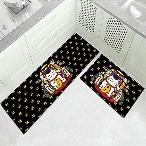 OPLJ Lindo Perro Alfombra de Cocina Antideslizante Alfombra Larga Lavable Planta Colorida Alfombra de Piso Impresa Sala de Estar balcón Alfombra A4 50x160cm