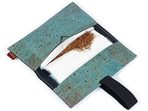 SIMARU Tabaktasche Drehertasche aus stabilem Kork, ideal für deinen Drehtabak/Tabak, Tabakbeutel BZW. Tasche in vielen Farben erhältlich, Tabaketui für Herren und Damen (türkis)