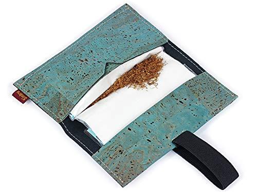 Bolsa para Tabaco hecha de corcho / piel de corcho vegana - Funda, estuche para tabaco de liar con compartimento adicional para mechero, filtros y papeles - Varios colores - by SIMARU (Turquesa)