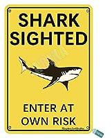 サメはビーチ、家、リビングルーム、クラブ、家、ダイニングルーム、ベッドルーム、オフィス、屋外、コーヒーバー、パブの金属ビンテージスズの壁の装飾12 x 8インチ