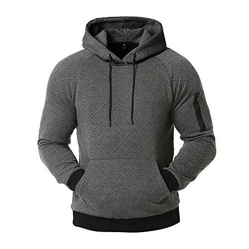 Sudadera con capucha para hombre Gimnasio Deportes Pullover Liso Manga Larga Patrón...
