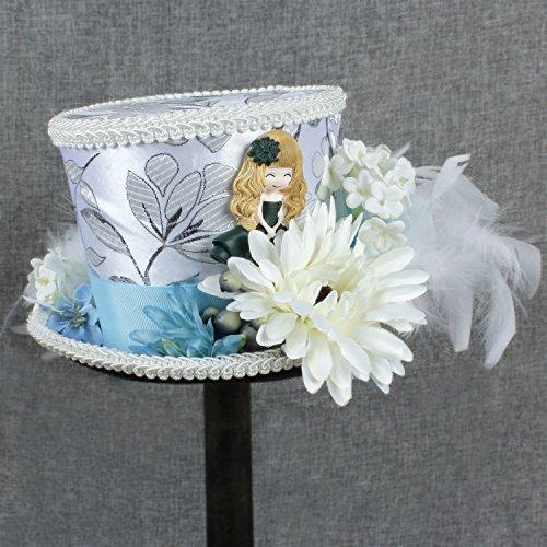Mode Hüte, Mützen, Elegante Hüte, Naturkappen Weißer Creme-Elfenbein-Mini-ToP-Hut Mad Hatter Tea-Hut-Brauthut Kentucky Derby-Hut (Farbe : Weiß, Größe : 25-30CM)