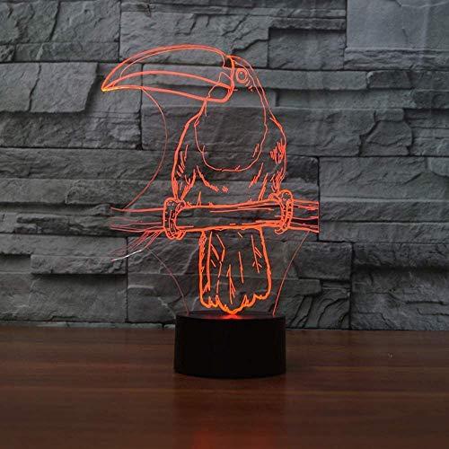 3D Ramphastos Toco vorm nachtlampje 7 kleuren veranderende USB LED vogel tafellamp kerstsfeer decoratie lamp voor kinderen geschenken
