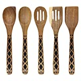 Country Kitchen 5 Piece Nonstick Utensil Set Acacia Wooden Kitchen Tools for Serving and Healthy Cooking with Black Inlay Design